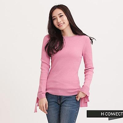 H:CONNECT 韓國品牌 女裝 - 設計袖坑條針織上衣 - 粉