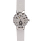 LV Q12M00 TAMBOUR LOVELY系列刻度鑲鑽原花壓紋錶帶精鋼女仕腕錶(白)