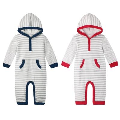 baby童衣 連身衣 時尚條紋連帽爬服 50709