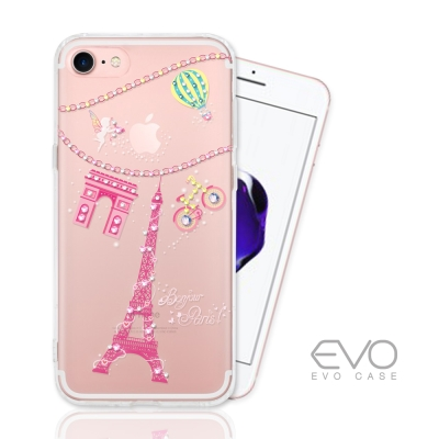 EVO CASE  iphone 7 奧地利水晶彩繪防摔手機鑽殼-巴黎鐵塔