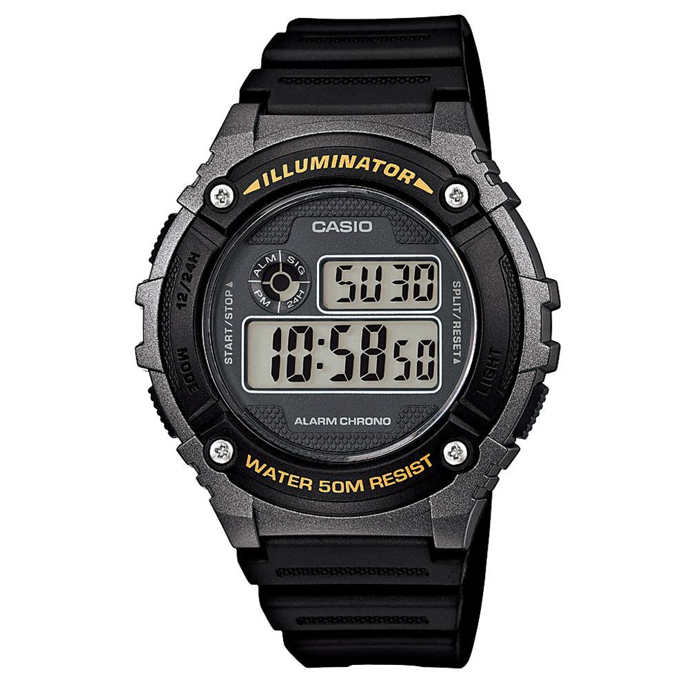 CASIO 元氣數位美學實用必備休閒錶-(W-216H-1B)黑x銀框/43mm