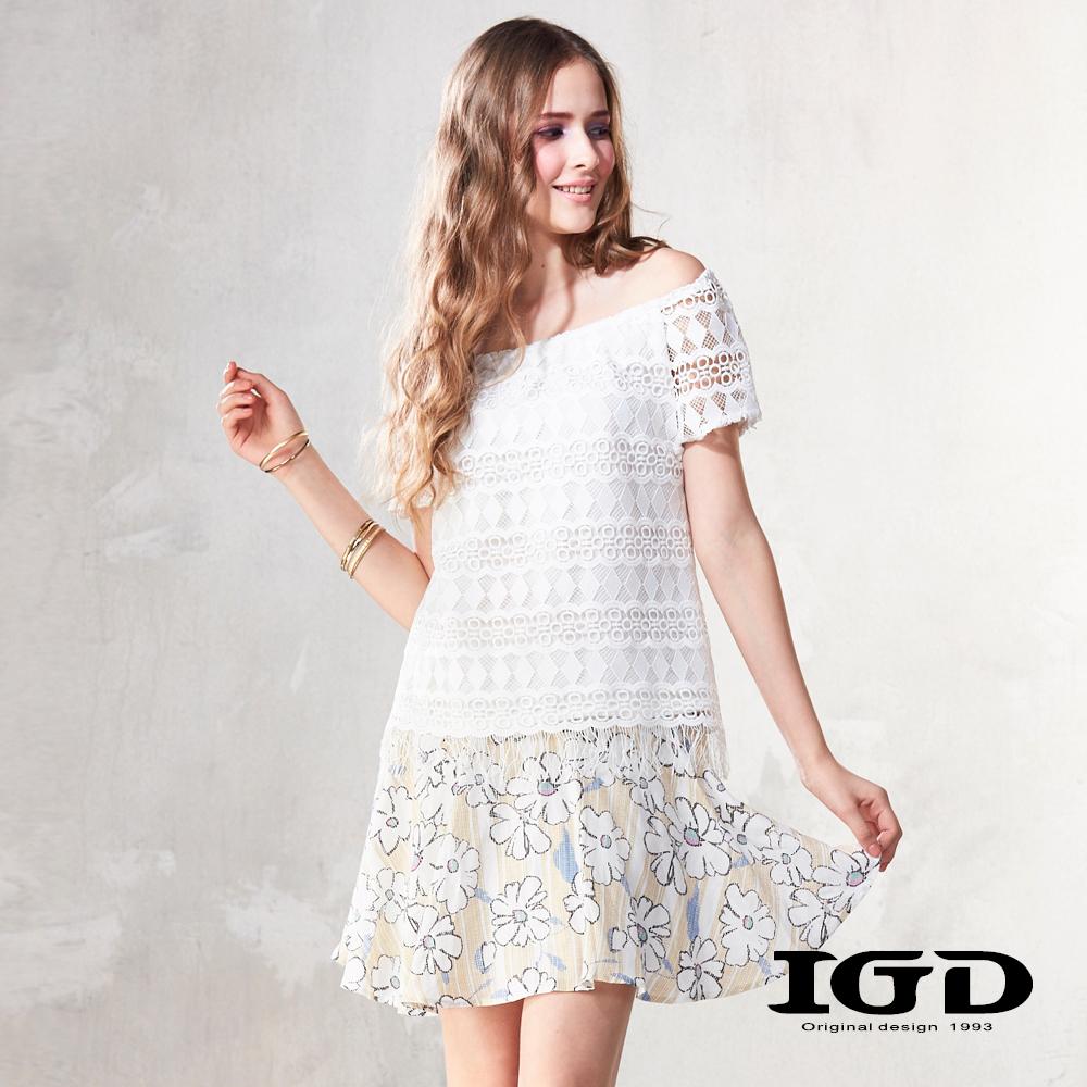 IGD英格麗 立體刺繡蕾絲透視平口上衣