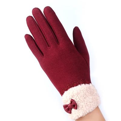 幸福揚邑-防風加絨觸控騎車開車保暖棉手套-可愛絨毛-紅色
