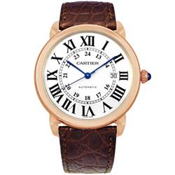 CARTIER RONDE SOLO 經典大型18K玫瑰金皮帶機械腕錶 -42mm