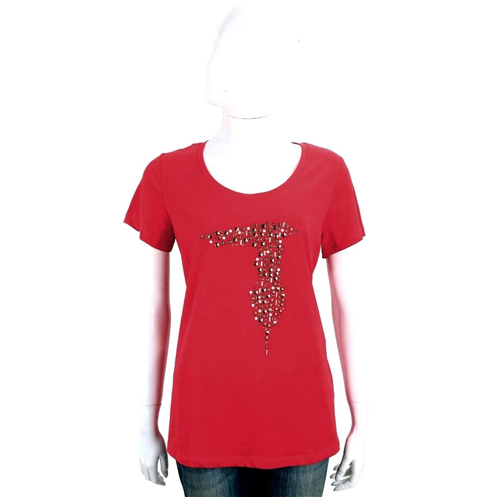 TRUSSARDI 紅色創意貼飾棉質短袖T恤
