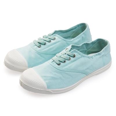 (女)Natural World 西班牙休閒鞋 素面4孔基本款*淺藍色