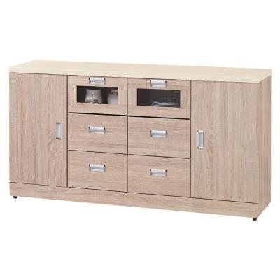 品家居 比佛利5.3尺橡木色石面碗盤收納餐櫃下座