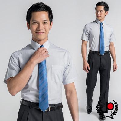 【極品西服】優雅品味釘釦領條紋短袖修身襯衫_細條藍(SS411-58)
