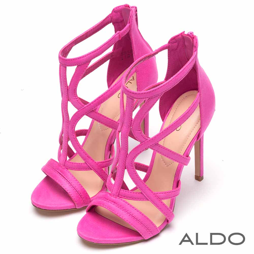 ALDO 原色幾何鏤空繫踝高跟涼鞋~亮粉紅色
