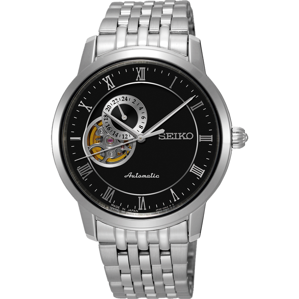 SEIKO Presage 24小時顯示開芯機械錶(SSA271J1)-黑/39mm