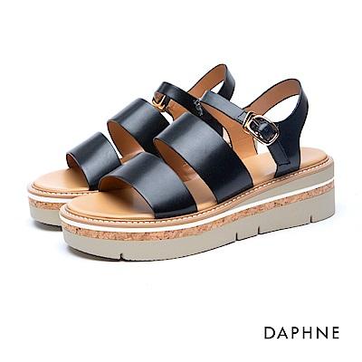 達芙妮DAPHNE 涼鞋-羅馬款寬帶Y型繞踝釦帶厚底涼鞋-黑
