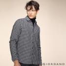GIORDANO 男裝純棉磨毛修身單口袋長袖襯衫 - 11 灰/白格子