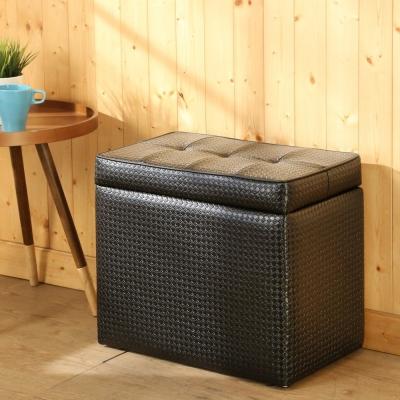 BuyJM編織皮面掀蓋椅/收納椅/寬52x32x高44公分-免組