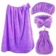 雪花絨四件組-浴帽+浴裙+裙襬式擦手巾+蝴蝶結束髮帶/潤紫 product thumbnail 1