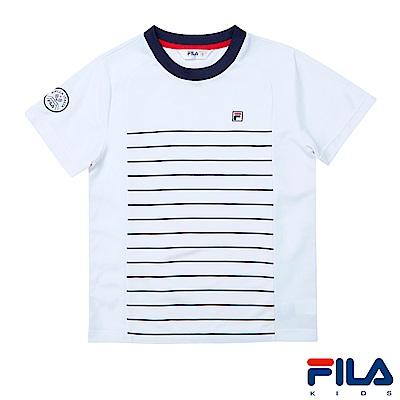 FILA KIDS 男童吸濕排汗上衣-白1TES-4405-WT
