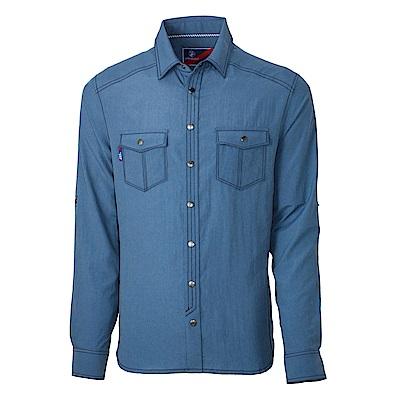 【Wildland 荒野】男RE雙色時尚抗UV長袖襯衫灰藍