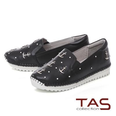 TAS 海軍風金屬鉚釘休閒鞋-注目黑