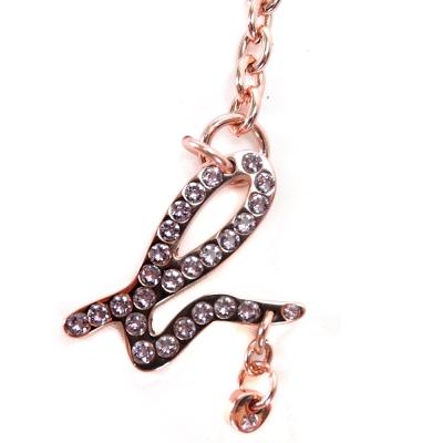 agnes b.小B水鑽星星圖形長掛吊飾(玫瑰金)