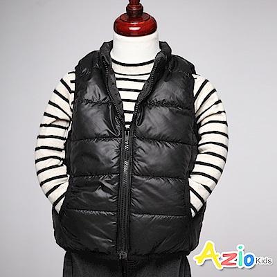 Azio Kids 童裝-鋪棉背心 保暖素面雙口袋拉鍊背心(黑)