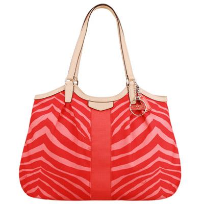 COACH 斑馬紋系列肩背托特包(紅)