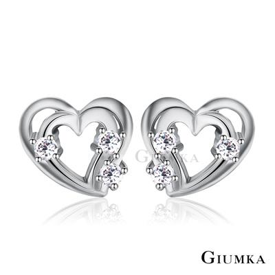GIUMKA 純銀耳環心形 花漾女孩 愛心925純銀耳環-銀色