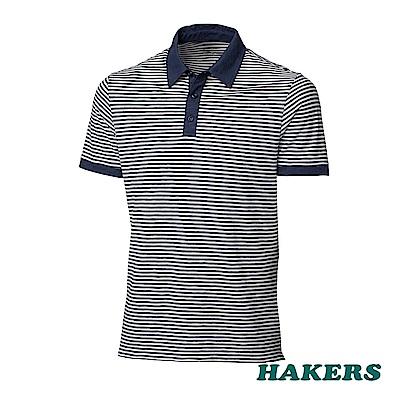 【HAKERS】男-抗UV條紋POLO衫-丈青