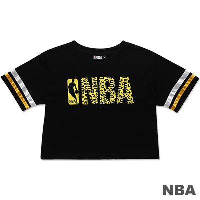 NBA-美國NBA圓領印花壓條短版T恤-黑(女)