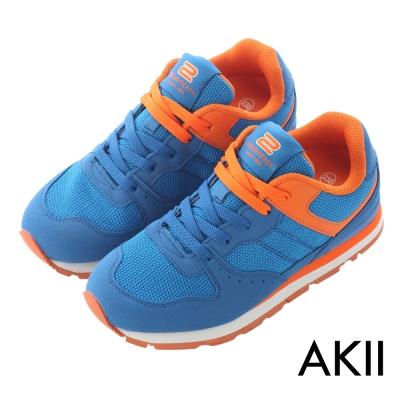 AKII韓國空運‧時尚撞色運動氣墊增高鞋-藍