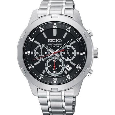 SEIKO 競速三眼計時黑面腕表(SKS605P1)x43mm