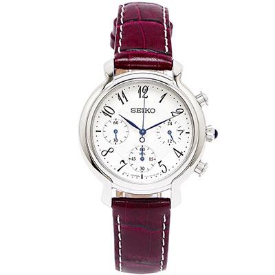 SEIKO 古典風三眼計時女性皮革手錶( SRW875P2)-銀白/34mm