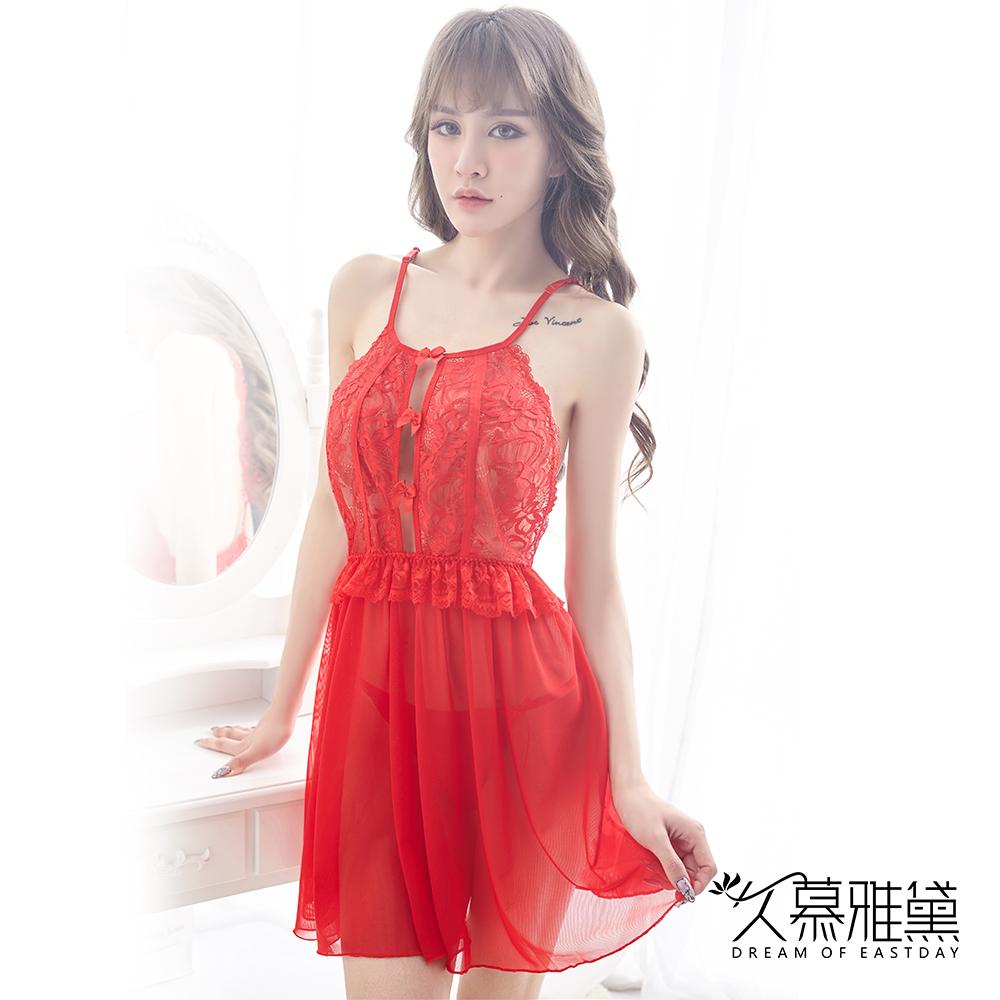 性感睡衣 花樣繁華美背蕾絲吊帶睡裙。紅色 久慕雅黛