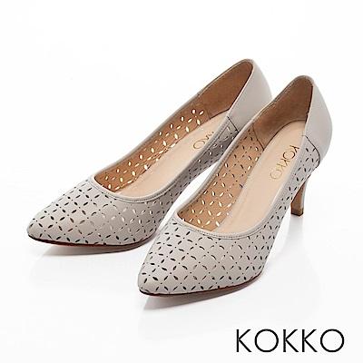 KOKKO -微光城市鏤空真皮尖頭高跟鞋-輕紗灰