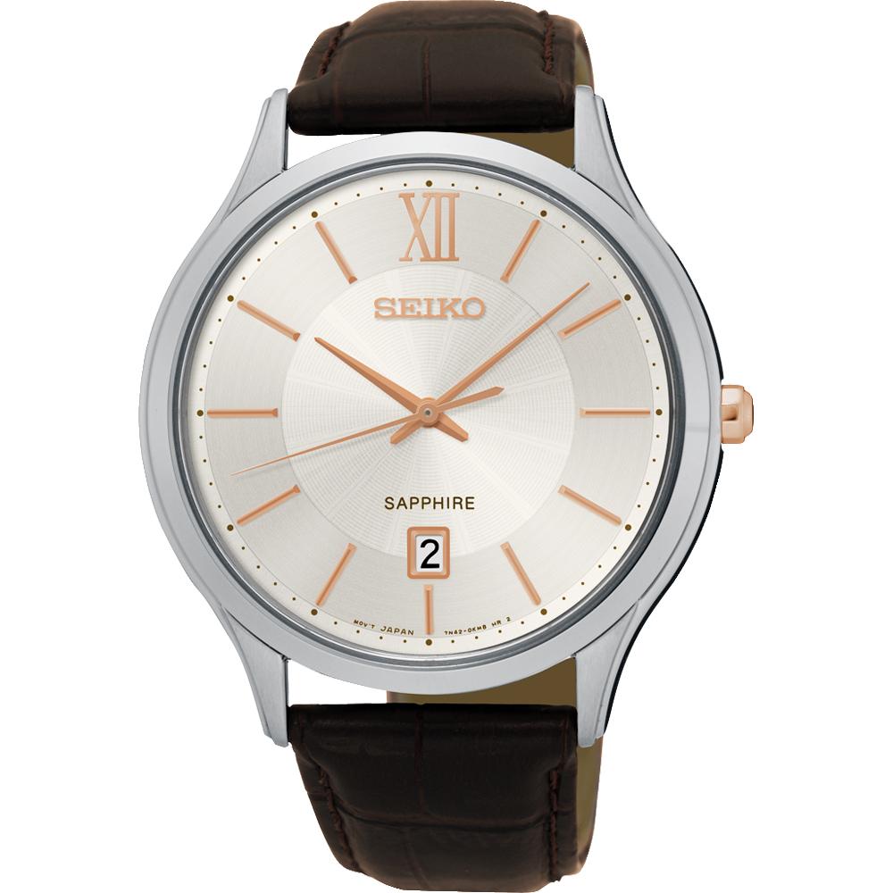 SEIKO 城市簡約美學時尚腕錶(SGEH55P1)-玫瑰金時標x咖啡/42mm
