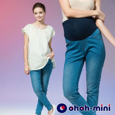 ohoh-mini 孕婦裝 經典流行單寧煙管孕婦褲-2色