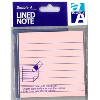 Double A 可再貼便條紙DASN17002-粉色橫線(76*76mm) 12本/組