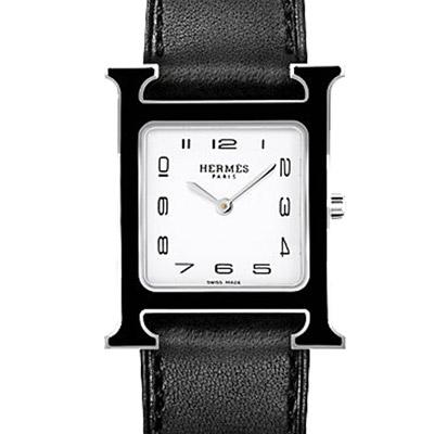 HERMES H-OUR經典H中型黑框款時尚腕錶黑色錶帶26x26mm