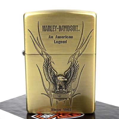 ZIPPO 日系~Harley-Davidson-哈雷-銅古美蝕刻加工打火機