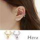 Hera赫拉 裸雕鋯石天使淚滴無耳洞耳環/耳扣/耳骨夾-2色( 單顆)銀色 product thumbnail 1