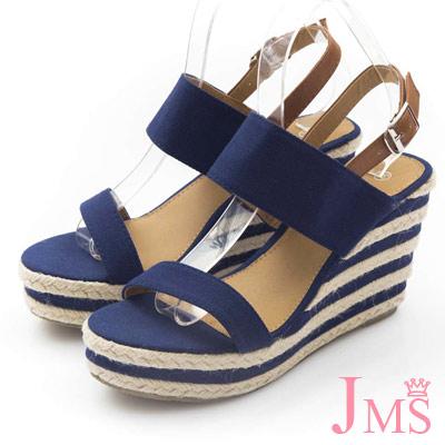 JMS-大人氣簡約一字造型搭色楔型跟涼鞋-藍色