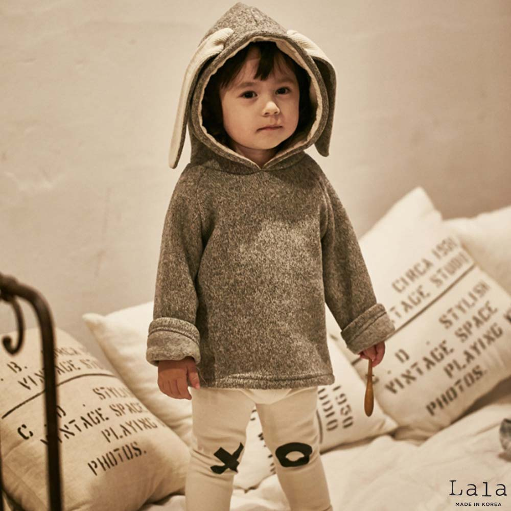 Lala韓國 灰色兔耳朵連帽後拉鍊長袖上衣