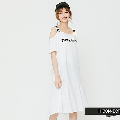 H:CONNECT 韓國品牌 女裝 - 露肩一件式文字洋裝-白