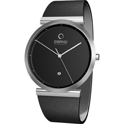 OBAKU 刻劃時光簡約時尚腕錶-銀黑/37mm
