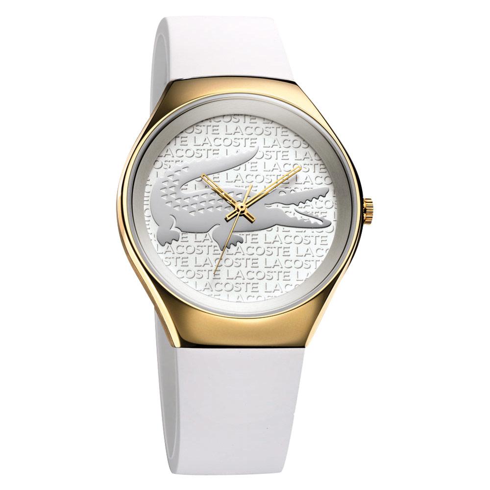 Lacoste 鱷魚 浮雕時尚腕錶-銀白X金框38mm