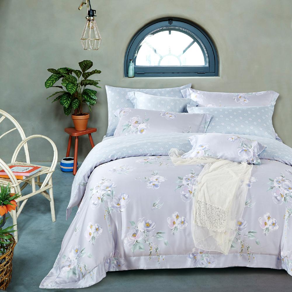 (8H極速配)Saint Rose 一瓣子心 雙人100%純天絲兩用被套床包四件組