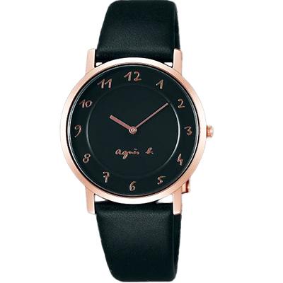 agnes b.簡約手繪時標真皮手錶-黑X玫瑰金/34mm