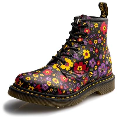 Dr.Martens-經典101 6孔馬汀靴-女款-碎花黑