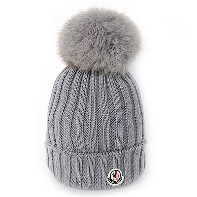 MONCLER 大毛球羊毛線條設計針織毛帽 (灰色)