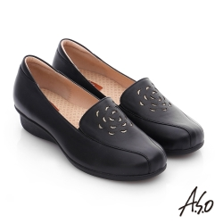 A.S.O 活力勁步 真皮鏤空花瓣奈米氣墊鞋 黑