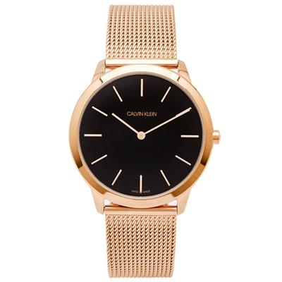 CK Calvin Klein 玫瑰金色的米蘭帶手錶(K3M2162Y)-黑面/40mm