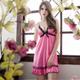大尺碼 亮麗粉紅柔緞睡衣L-2L Annab